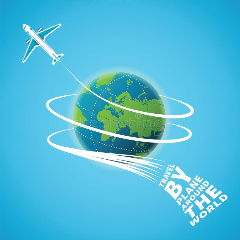 Vektorkonzept des Flugzeugverkehrs auf der ganzen Welt stock abbildung