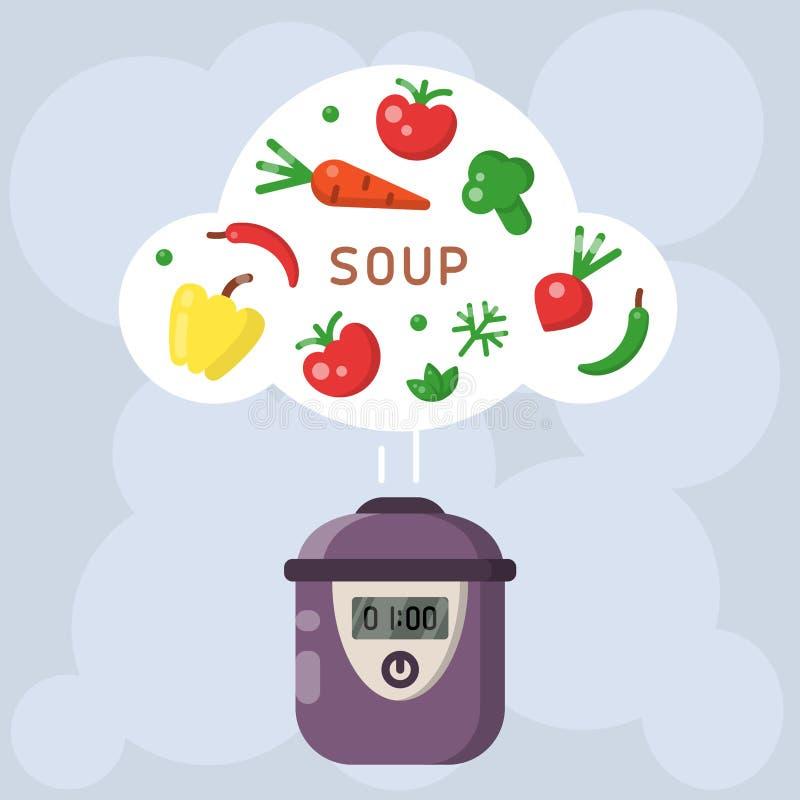 Vektorkonzept des Kochens der Suppe in einem langsamen Kocher stock abbildung