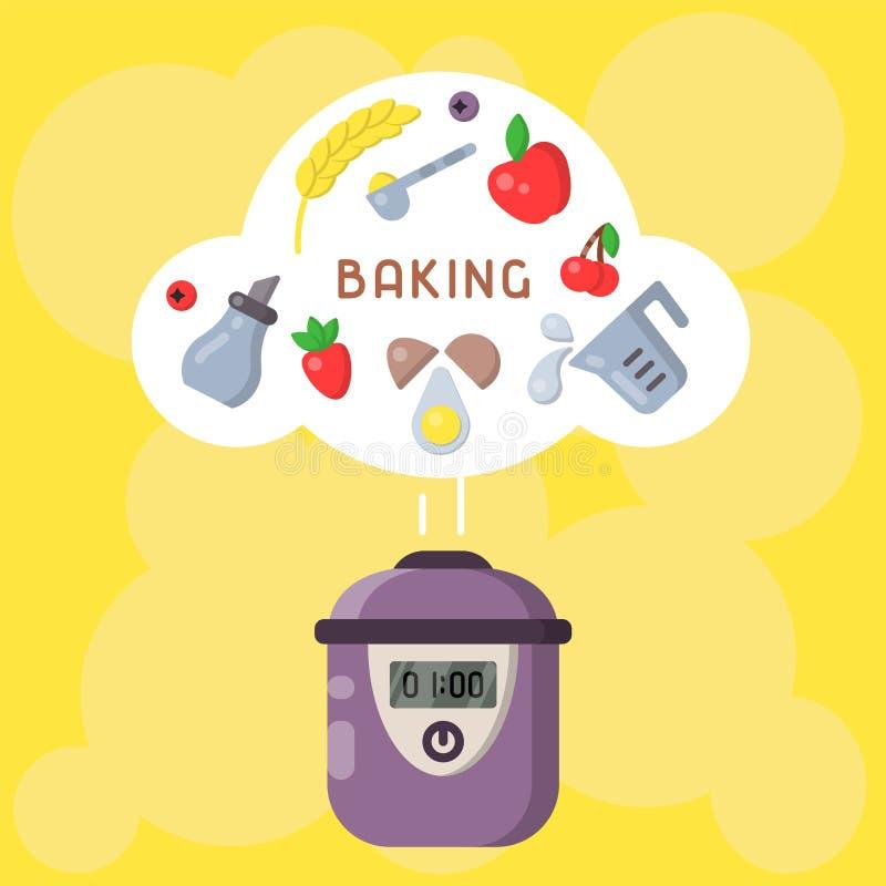 Vektorkonzept des Kochens von Bäckereiprodukten in einem langsamen Kocher lizenzfreie abbildung