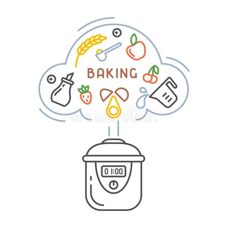 Vektorkonzept des Kochens von Bäckereiprodukten in einem langsamen Kocher vektor abbildung