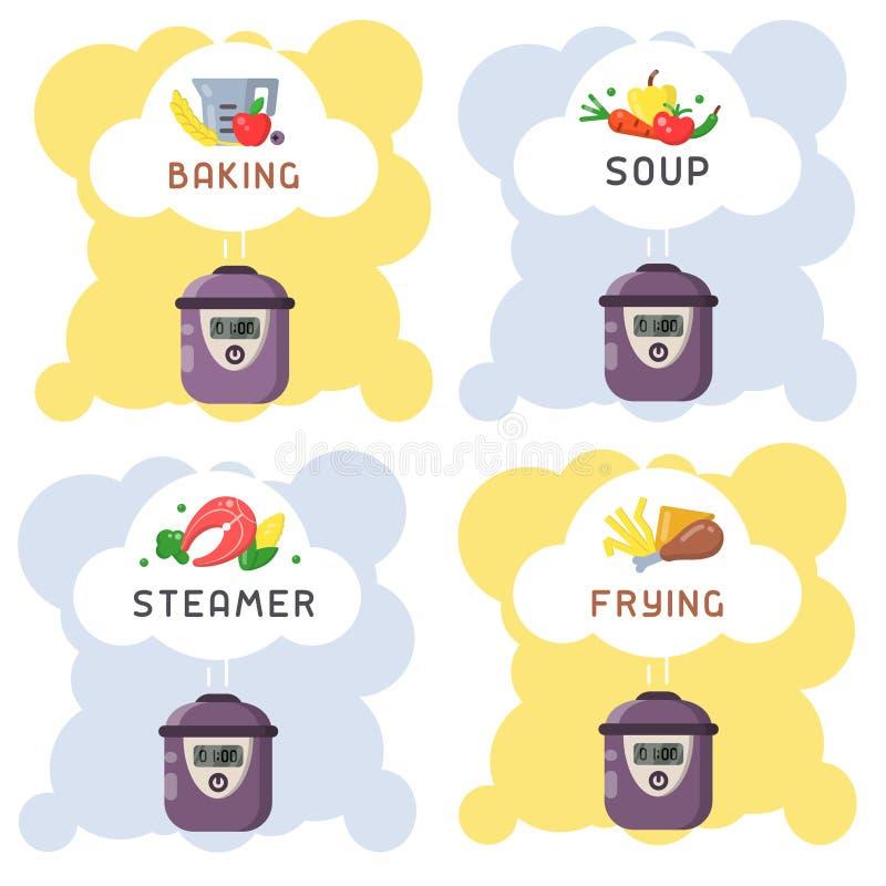 Vektorkonzept des Kochens von verschiedenen Gerichten in einem langsamen Kocher vektor abbildung