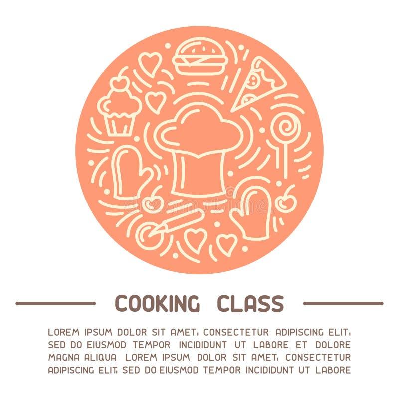 Vektorkonzept des Kochkursplakats mit Kochkappe, Nahrungsmittelelementen und Beispieltext vektor abbildung