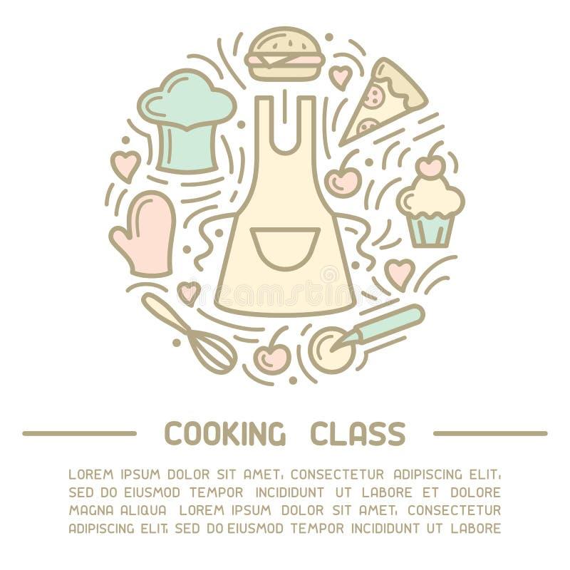 Vektorkonzept des Kochkursplakats mit Schutzblech, Nahrungsmittelelementen und Beispieltext stock abbildung