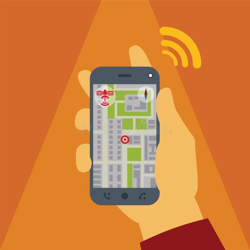 Vektorkonzept von gps-Navigation auf Smartphone stock abbildung