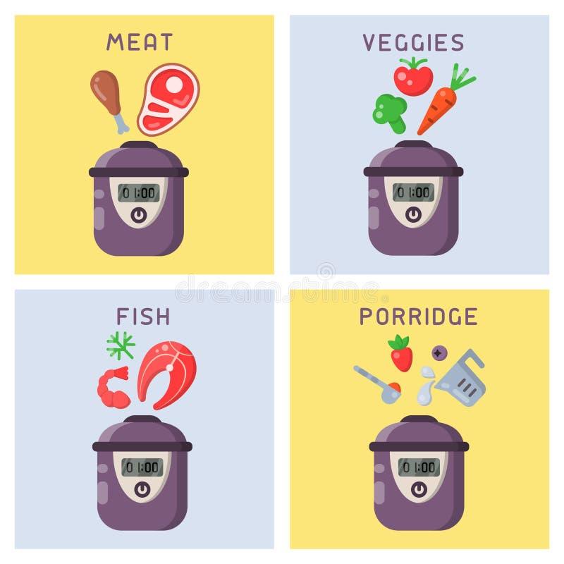 Vektorkonzepte des Kochens von verschiedenen Gerichten in einem langsamen Kocher lizenzfreie abbildung