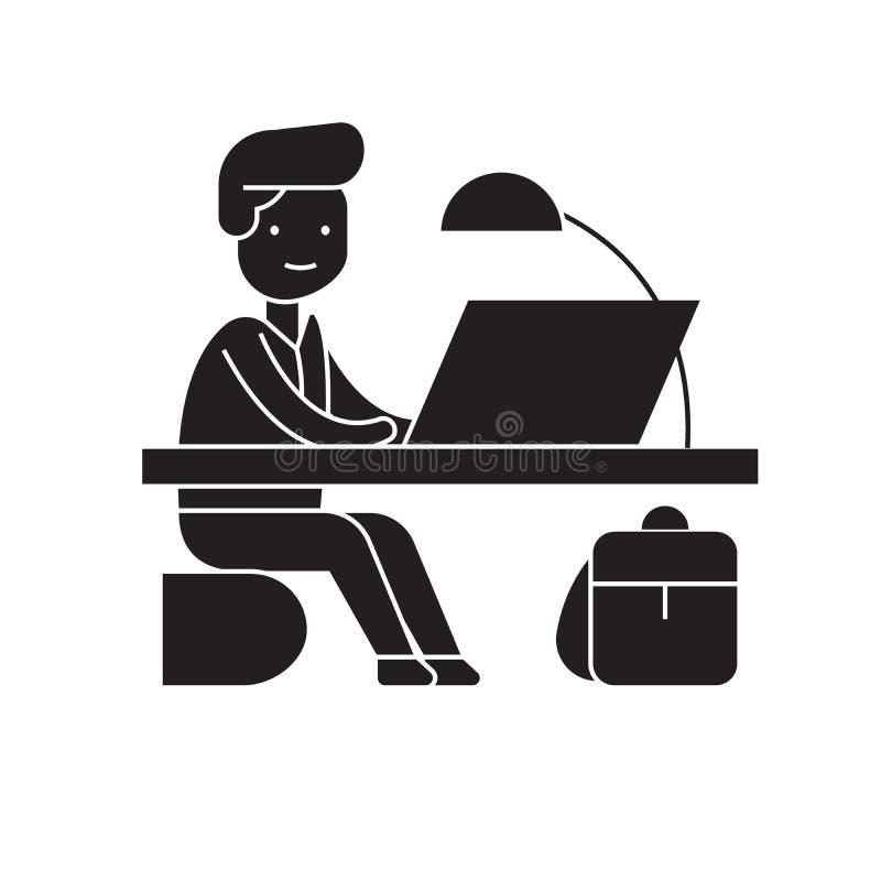 Vektorkonzeptikone der Büroarbeit schwarze Flache Illustration der Büroarbeit, Zeichen stock abbildung