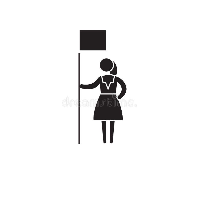 Vektorkonzeptikone der Frauenrechte schwarze Flache Illustration der Frauenrechte, Zeichen lizenzfreie abbildung