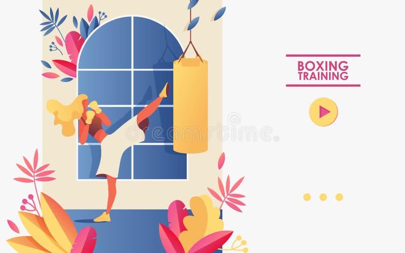 Vektorkonzeptillustration für Turnhallen- oder Verpacken- oder Kickboxingkurse und Schule Schablone gut für die Landung der Seite stock abbildung