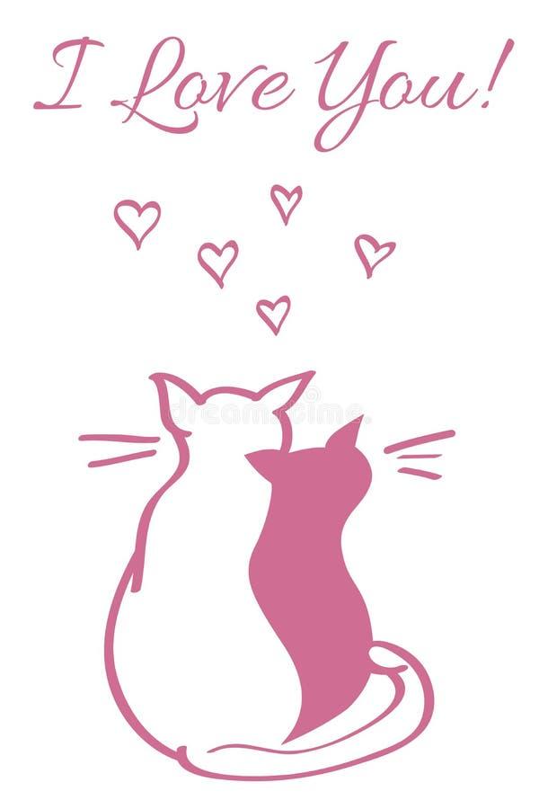Vektorkort med dagbegrepp för valentin s, två katter på taket på natten stock illustrationer