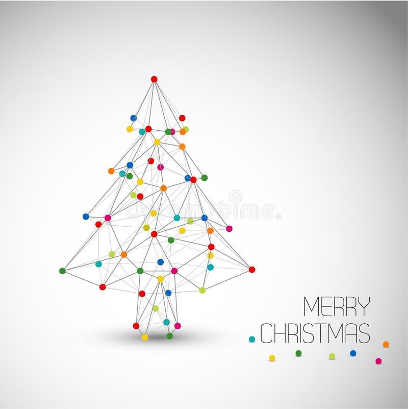 Vektorkort med det abstrakta julträdet som göras från linjer och prickar vektor illustrationer