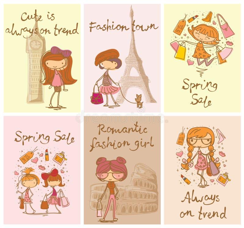 Vektorkort med gulliga modeflickor royaltyfri illustrationer