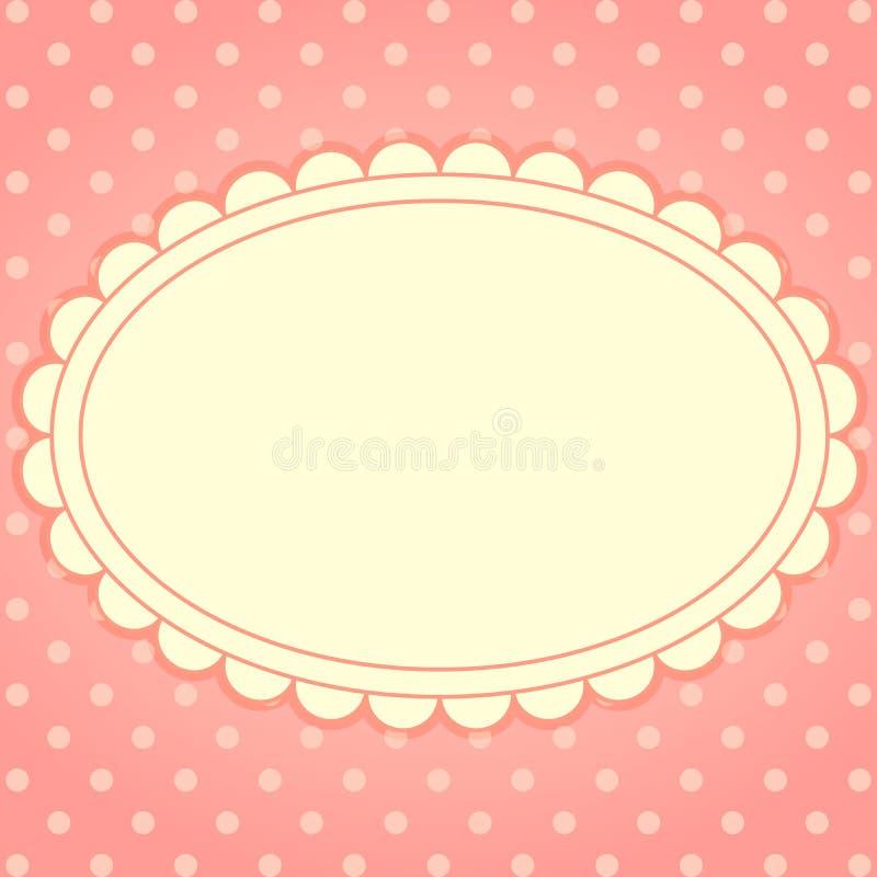 Vektorkort med ram- och prickbakgrund royaltyfri illustrationer