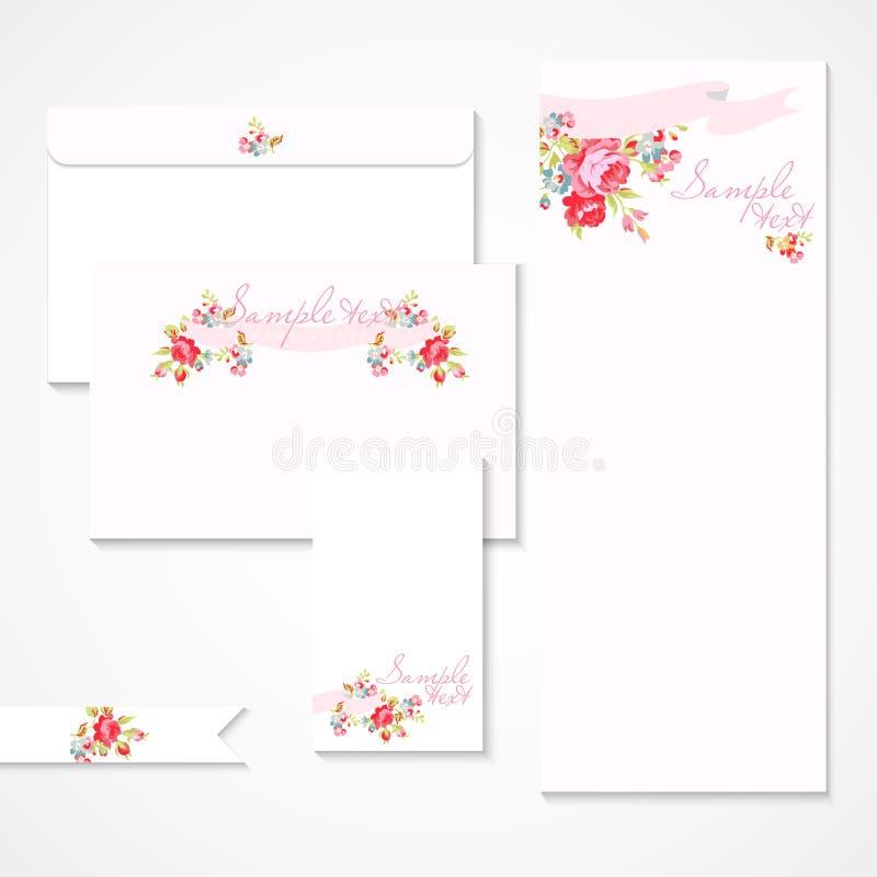 Vektorkort med rosa rosor royaltyfri illustrationer