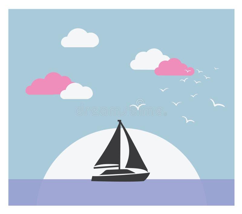 Vektorkort med segelbåten mot solnedgång royaltyfri illustrationer