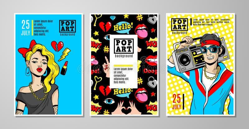 Vektorkort och baner i komisk stil 80s-90s stock illustrationer