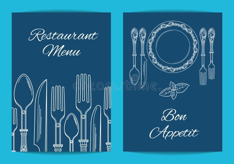 Vektorkort-, reklamblad- eller broschyrmall för restaurang eller kafémeny royaltyfri illustrationer