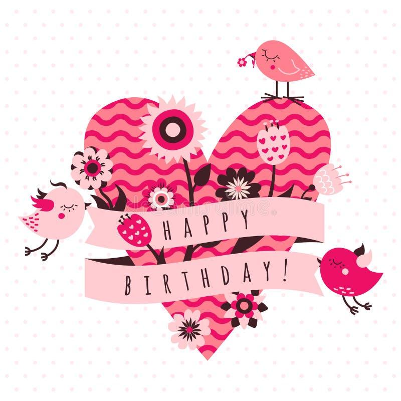 Vektorkortet för den lyckliga födelsedagen i ljus och mörk rosa färger och brunt färgar med fåglar, blommor, bandet och hjärta royaltyfri illustrationer