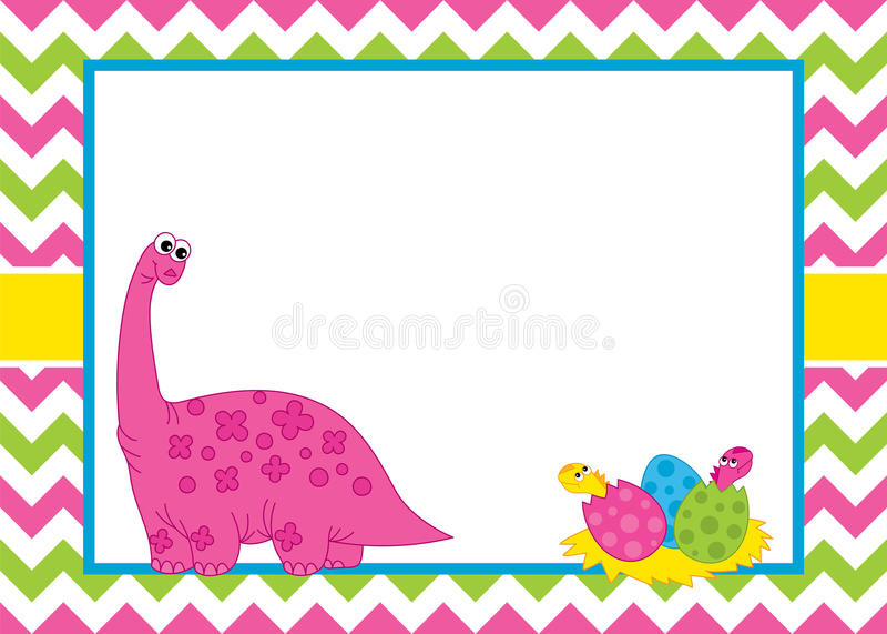 Vektorkortmall med en gullig tecknad filmdinosaurie på sparrebakgrund vektor illustrationer