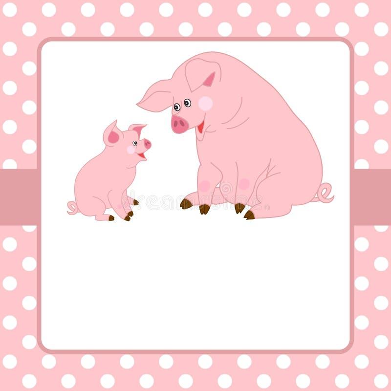 Vektorkortmall med gulliga svin och polkan Dot Background stock illustrationer