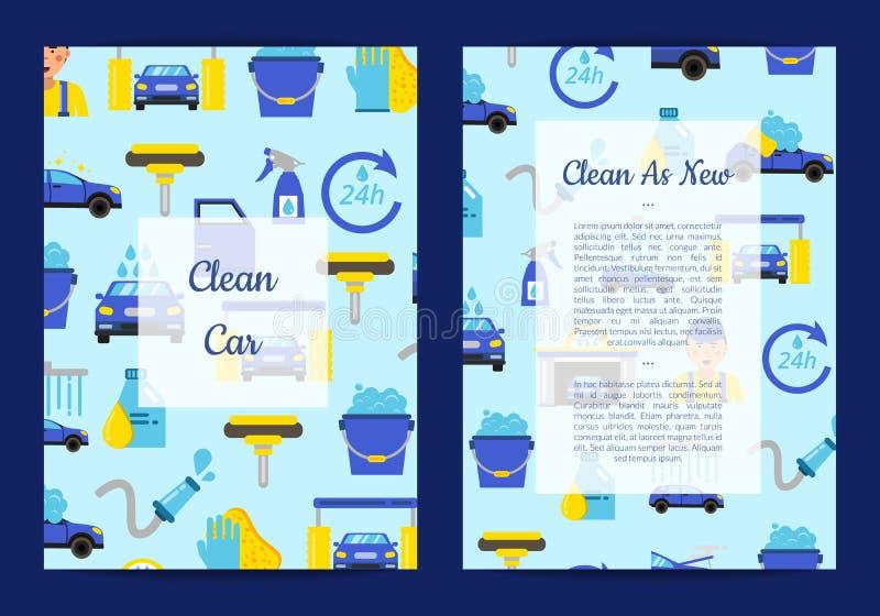 Vektorkortmallar ställde in för med biltvättlägenhetsymboler vektor illustrationer