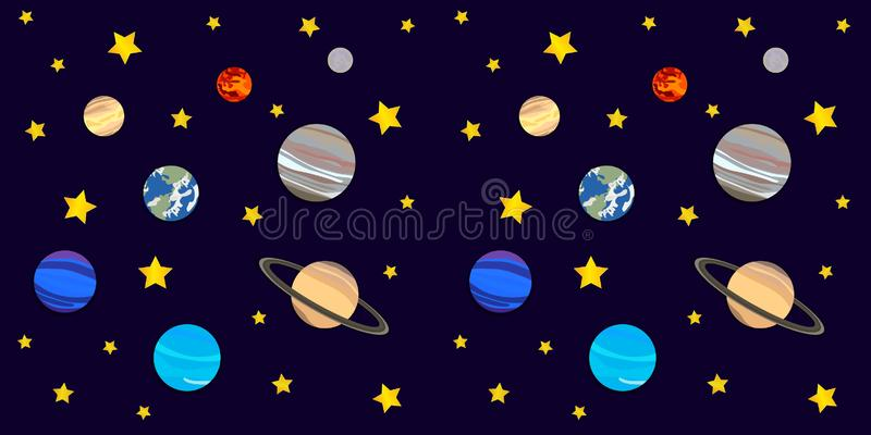 Vektorkosmosbakgrund, färgrik sömlös modell, planeter och stjärnor, illustrationmall royaltyfri illustrationer
