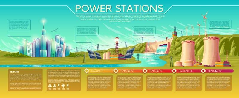 VektorKraftwerke infographics Schablone lizenzfreie abbildung