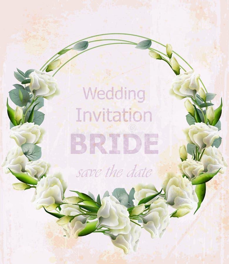 Vektorkranz weiße Blumen des Aquarells Schöne Hochzeitseinladung Weinleseblumengirlanden stock abbildung