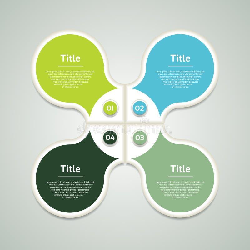 Vektorkreis infographic Schablone für Diagramm, Diagramm, Darstellung und Diagramm Geschäftskonzept mit vier Wahlen, Teile, tritt stock abbildung