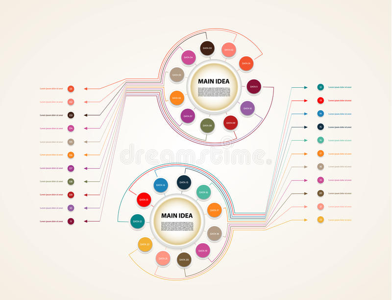 Vektorkreis infographic Schablone für Diagramm, Diagramm, Zeitachse, Darstellung und Diagramm Geschäftskonzept mit elf Wahlen, PA stock abbildung