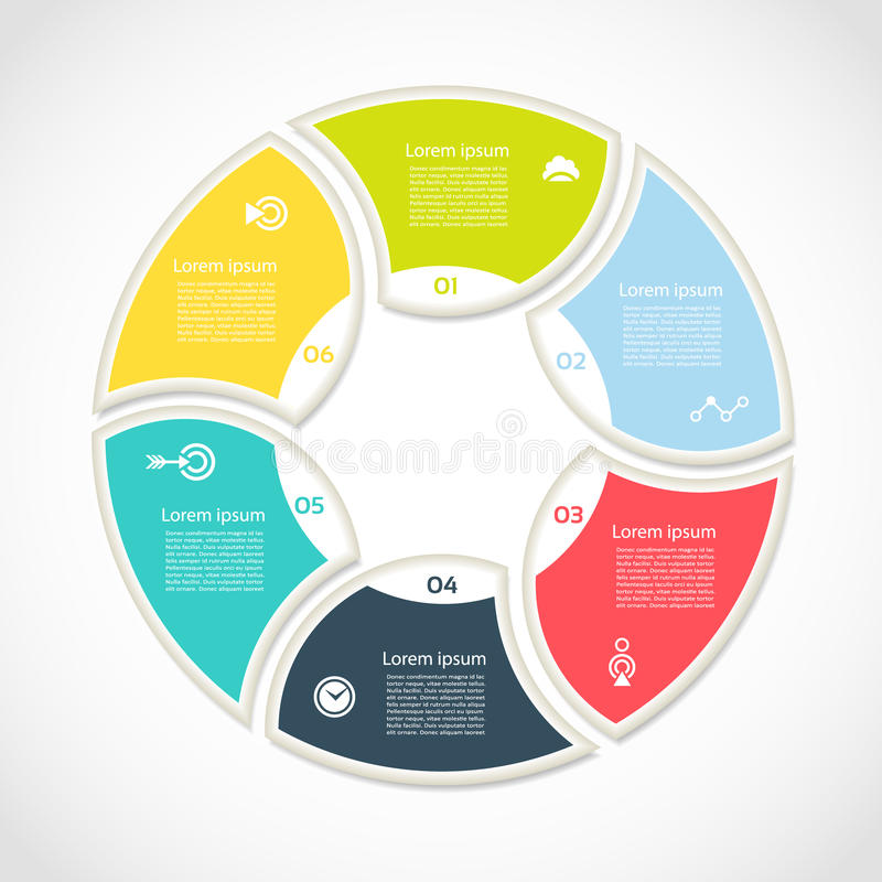 Vektorkreis infographic Schablone für Zyklusdiagramm, Diagramm, Darstellung und rundes Diagramm Geschäftskonzept mit 6 Wahlen, Te vektor abbildung