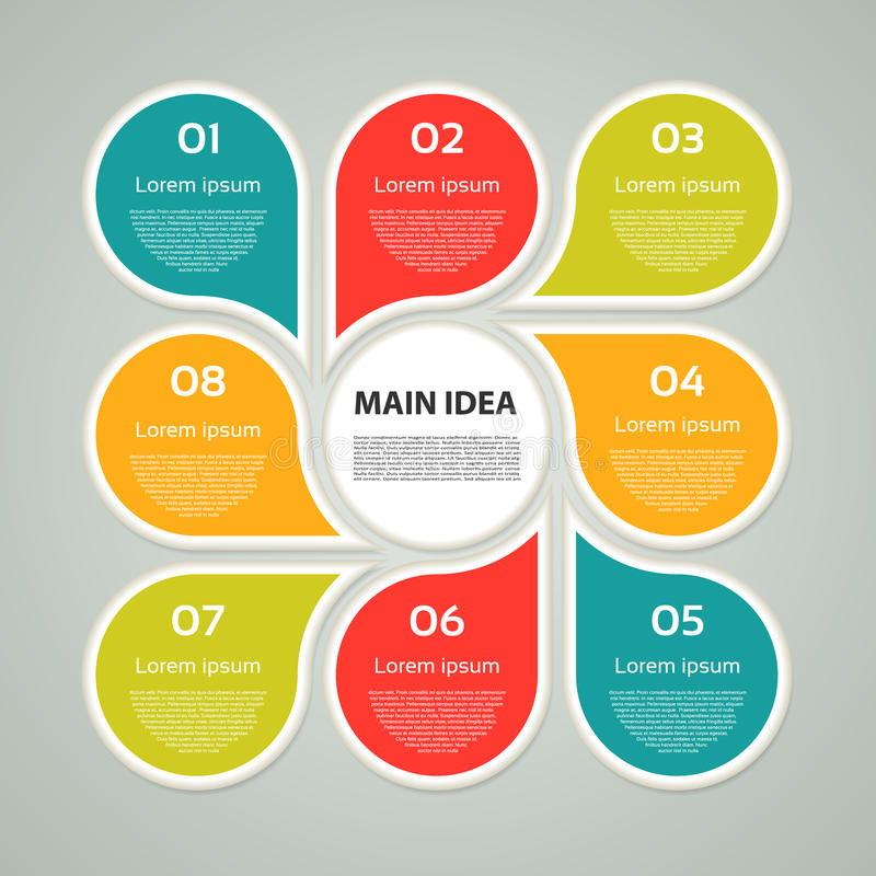 Vektorkreis infographic Schablone für Zyklusdiagramm, Diagramm, Darstellung und rundes Diagramm Geschäftskonzept mit 8 Wahlen, Te stock abbildung