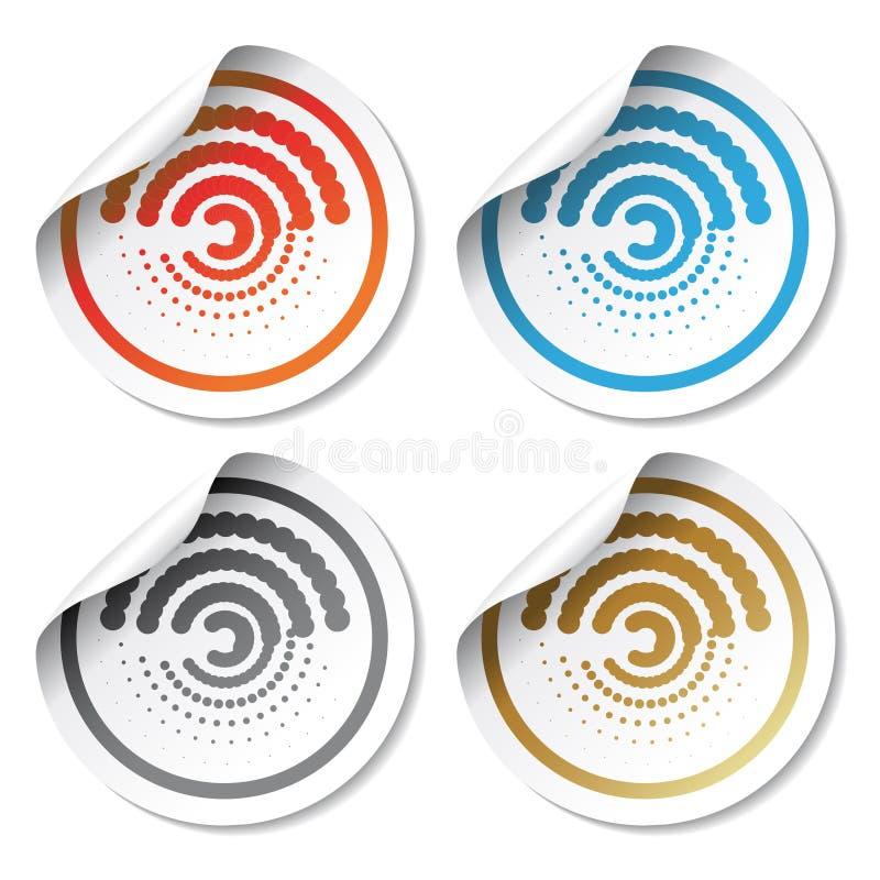 Vektorkreisaufkleber mit gekräuselter Ecke stock abbildung