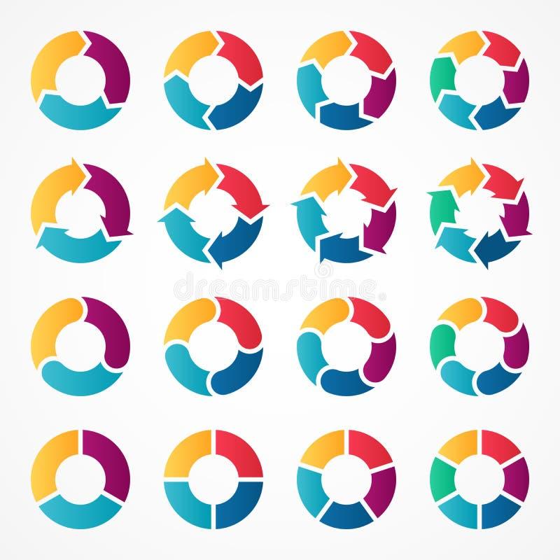 Vektorkreispfeile infographic Schablone für Zyklusdiagramm, Diagramm, Darstellung und rundes Diagramm Geschäftslogokonzept lizenzfreie abbildung
