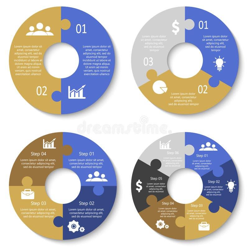 Vektorkreispuzzlespiel für infographic Schablone für Radfahrendiagramm, Diagramm und rundes Diagramm Die goldene Taste oder Errei lizenzfreie abbildung