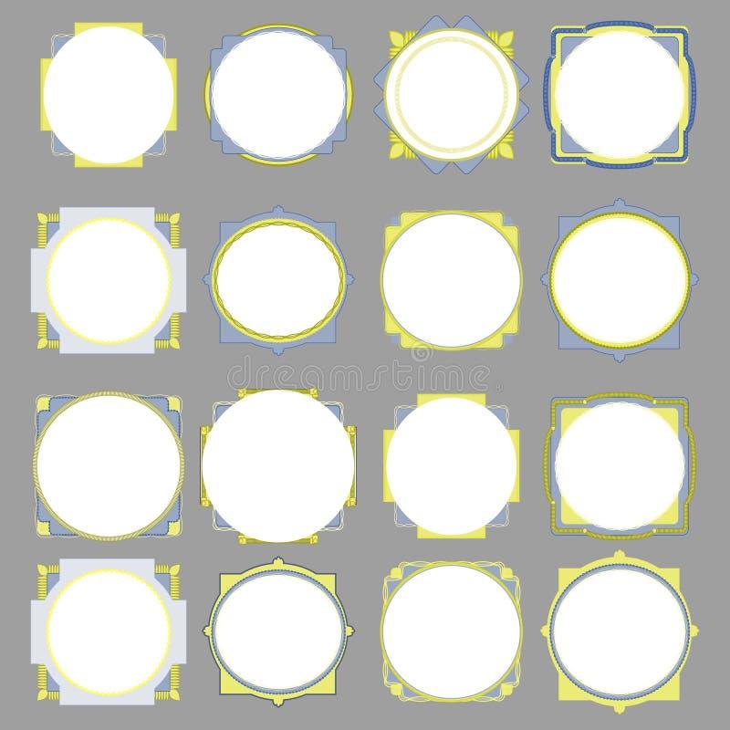 Vektorkreisrahmen auf gfey Hintergrund stockbilder