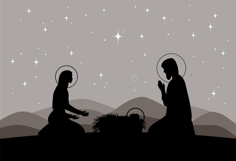 Vektorkrippe Mary mit Jesus- und Joseph-Schattenbild lizenzfreie abbildung
