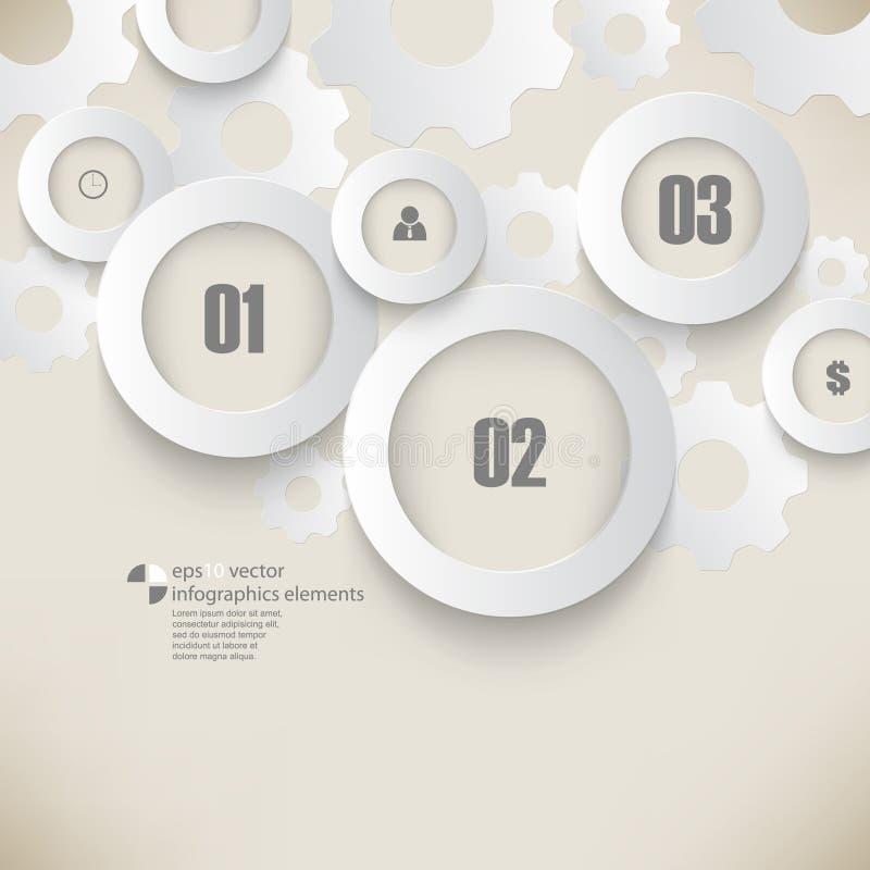 Vektorkrom ringer och utrustar infographicsbakgrund vektor illustrationer