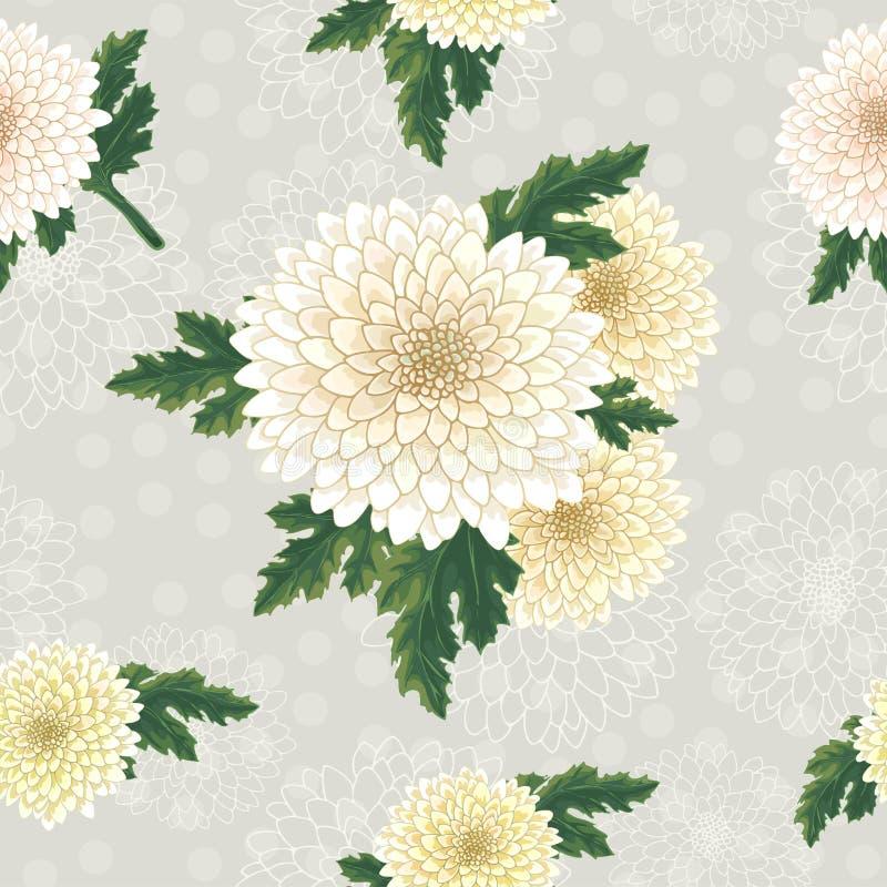 Vektorkrysantemum Sömlös modell av guld--tusensköna blommor Mall för blom- garnering, tygdesign som förpackar eller stock illustrationer
