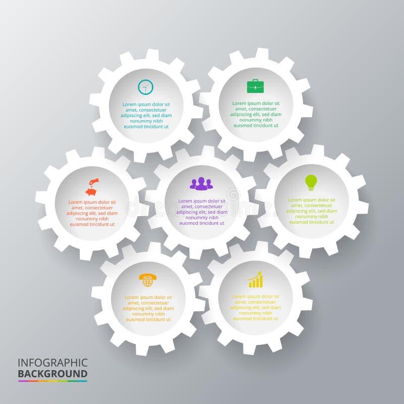 Vektorkugghjul för infographic vektor illustrationer