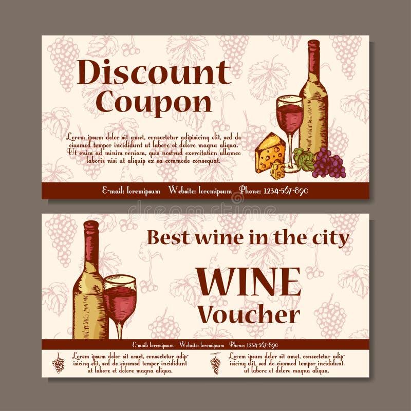 Vektorkupongmall för drycker Uppsättningen av vinbaner med skissar Illustration för kupongen, etikett, kort vektor illustrationer