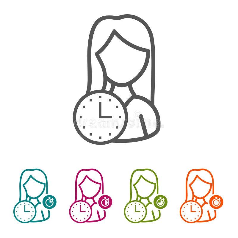 Vektorkvinnan med klockasymboler i den tunna linjen stil och lägenhet planlägger royaltyfri fotografi