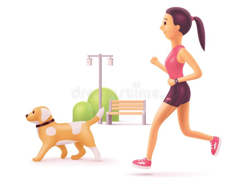 Vektorkvinnan som in joggar, parkerar med hunden stock illustrationer