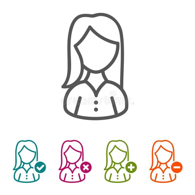Vektorkvinnasymboler i den tunna linjen stil och lägenhet planlägger vektor illustrationer