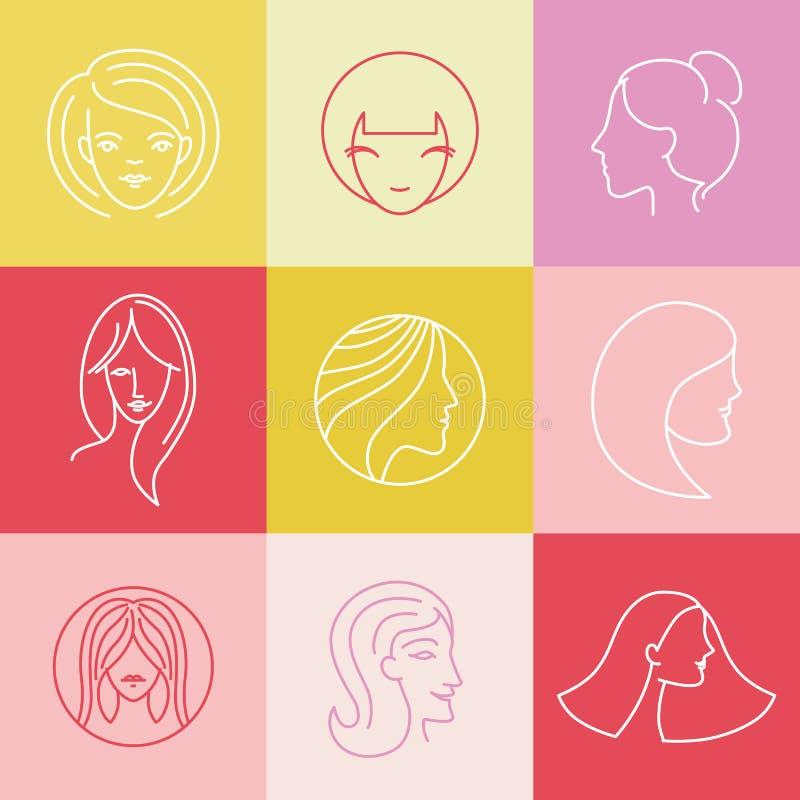 Vektorkvinnors beståndsdelar för design för logo royaltyfri illustrationer