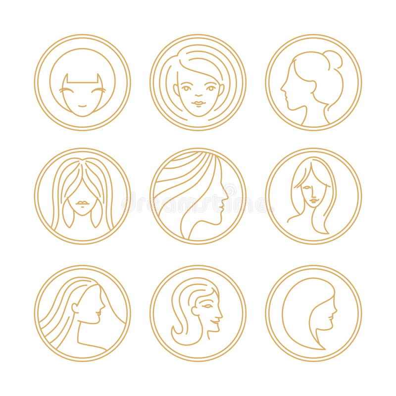 Vektorkvinnors beståndsdelar för design för logo stock illustrationer