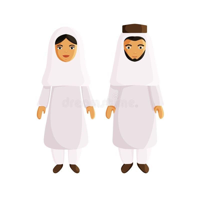 Vektorlägenhet Illustraion av muslimska arabiska par stock illustrationer
