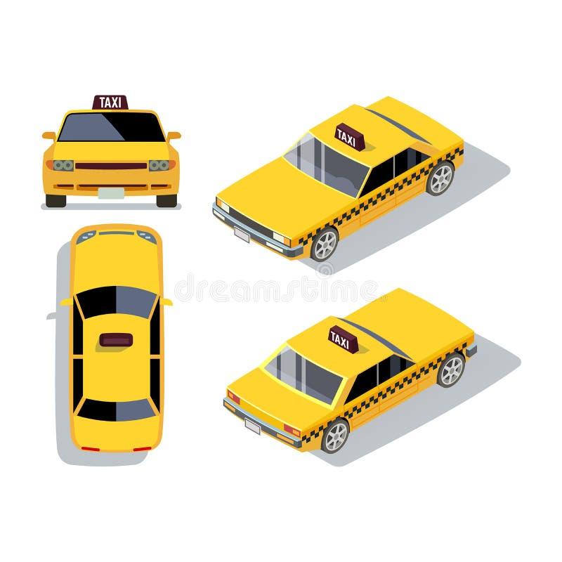 Vektorlägenhet-stil bilar i olika sikter Gul isometrisk taxi stock illustrationer