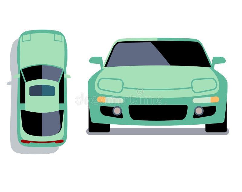 Vektorlägenhet-stil bilar i olika sikter Turkossportbil royaltyfri illustrationer