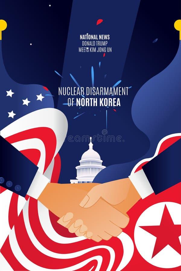 Vektorlägenhet USA och Kina vertikal baneröverenskommelse på samarbete och tillförsel Vita Huset Washington Capitol _ royaltyfri foto