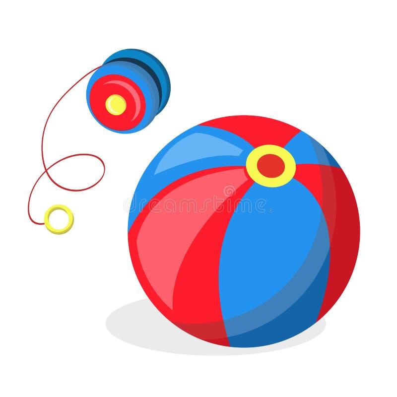 Vektorlägenheten jojjade, och bollen behandla som ett barn leksaker royaltyfri illustrationer